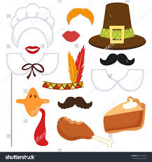 set thanksgiving photo booth props stock vector 317566133