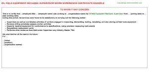 oil field equipment mechanic supervisor job title docs