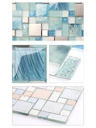 blue glass tile kitchen backsplash painted blue glass tile mosaics metal stainless steel silver