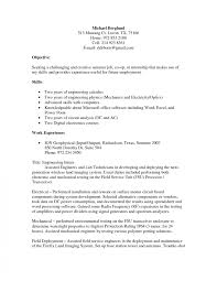 electrical engineering resume for internship objective for engineeringesume project manager templates technical