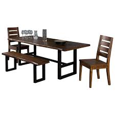 4 piece live edge table set with bench by sunny designs wolf and