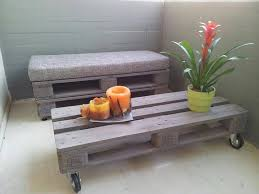 pallet cushioned bench and coffee table 101 pallet ideas