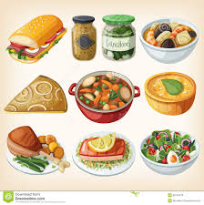 collection of traditional french dinner meals stock photo image