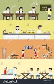Interior Layout Cartoon Building Interior Layout Subject Stock Vector