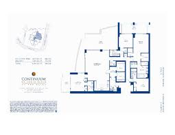 Parkland Residences Floor Plan by Continuum Miami Beach Condos For Sale North Tower 50 S Pointe Dr