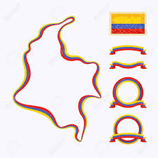 Map Of Colombia Outline Map Of Colombia Border Is Marked With A Ribbon In The