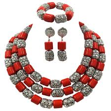 wedding bead necklace images Fashion white artificial coral and gold bead jpg