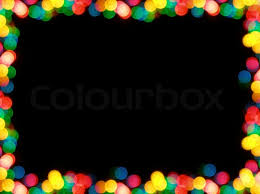 colorful garland lights looking as frame black background