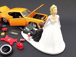 mechanic wedding cake topper auto mechanic car loving groom being dragged by
