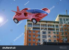 futuristic flying cars red air car flying city flying stock illustration 449662060