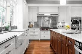 Backsplash With White Kitchen Cabinets White Kitchen Cabinets With Stainless Steel Subway Tile Backsplash
