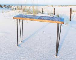 Metal Sofa Table Metal Inlayed Reclaimed Wood Sofa Table With Hairpin Legs