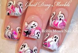 cute halloween nails halloween drag dry marble nails ghost nail art design tutorial