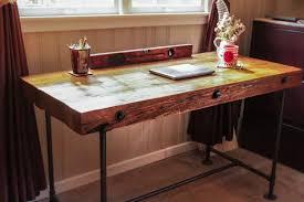 Rustic Wooden Desk Reclaimed Wood Desk Custom Order Desk Rough Cut Wood Desk