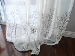 White Sheer Shower Curtain Off White Sheer Curtain Voile Panel With Printed Tree Pattern
