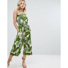 green jumpsuits bandeau jumpsuit in print with embellished flamingo green