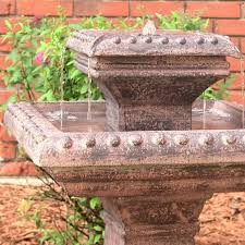 solar water fountain square 2 levels for outdoor patio backyard or
