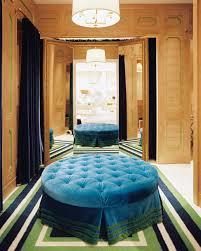 blue tufted ottoman eclectic closet lonny magazine