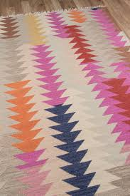 southwest bohemian pink multi color geometric flat weave rug
