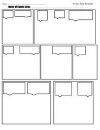 5 panel comic strip template with dialogue lines art for class