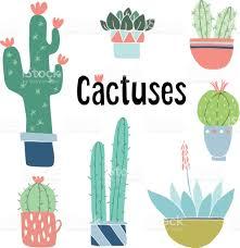 Cute Succulent Pots Set Of Cute Hand Drawn Cactus And Succulent Plants In Pots