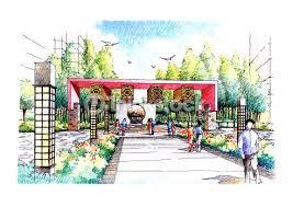 landscape garden sketch series 20 stock illustration thinkstock