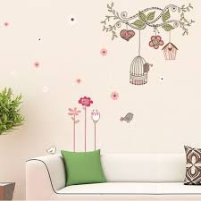 cartoon branch cage birds and flower wall sticker