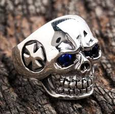 silver rings skull images Blue eyes skull sterling silver mens sapphire rings bikerringshop jpg