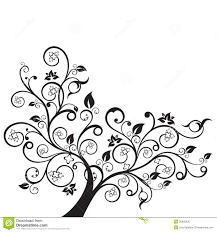 flowers and swirls design element silhouette stock vector image