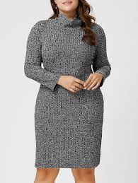 plus size ribbed sheath turtleneck sweater dress in gray 3xl
