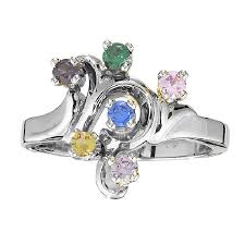 6 mothers ring freeform mothers ring with six birthstones