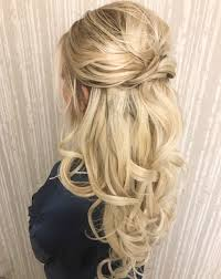 half up half down curl hairstyles u2013 partial updo wedding