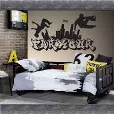 Skate Room Decor Parkour Free Running Jumping Urban Style Skate Graffiti Art Wall