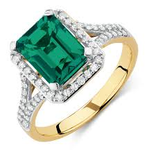 rings emerald images With created emerald 1 3 carat tw of diamonds in 10kt yellow jpg