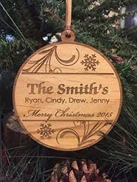 personalized wood ornament newlyweds laser