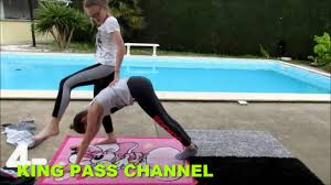 yoga challenge with girlfriend outside pool youtube