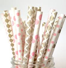 blush gold straws blush pink and gold paper straws blush gold