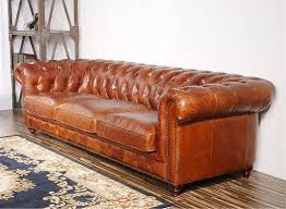 Tufted Brown Leather Sofa Pasargad Carpets Chester Bay Genuine Leather Tufted