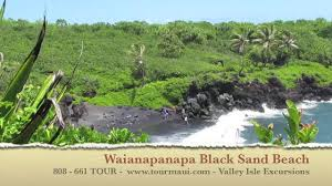 black sand beach maui waianapanapa state park