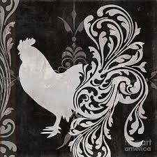 Black And White Rooster Decor Rooster Paintings Fine Art America