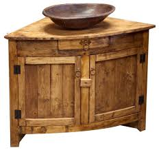 Rustic Bathroom Cabinets Vanities - old barn rustic corner vanity 30