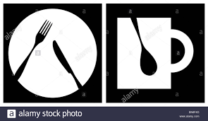 dinner silhouette cutlery icons white fork knife dish cup and spoon silhouettes