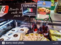 cheese display in spanish supermarket stock photo royalty free