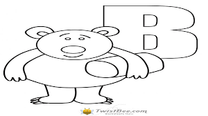 bear coloring page with letter b worksheets twistbee