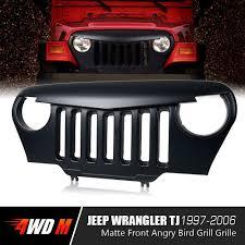 jeep wrangler light grey matte black angry bird grille for jeep wrangler tj 1997 2006