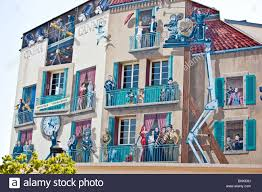 bus station at cannes wall mural decoration linking the city with wall mural decoration linking the city with its famous film festivals france