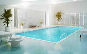 adorable indoor swimming pools decoration with white arm chairs