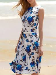 print dress printed sleeveless floral belted dress in blue xl sammydress