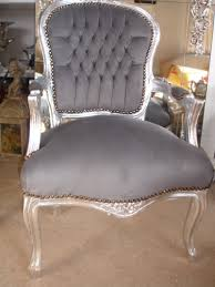 french louis shabby silver u0026 grey chic faux suede chair aunties