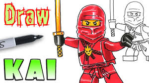 how to draw ninjago kai lego coloring pages youtube